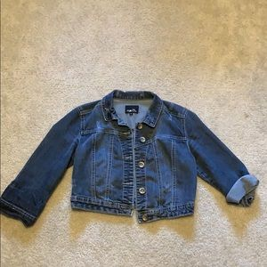 Denim jacket cropped length distressed